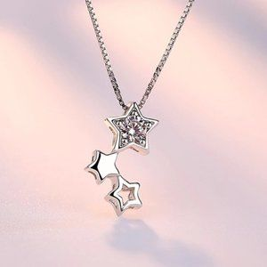 NEW 925 Sterling Silver Diamond Star Necklace
